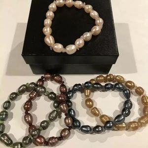 Set Of 5 Honora Stretch Pearl Bracelets Orig Box